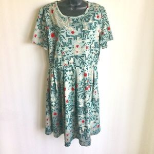 LuLaRoe Amelia Dress Green Red Print Sze 3XL NWTS